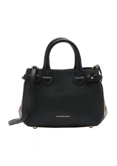 Burberry black calfskin small 'Banner' convertible tote