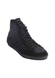 Burberry black check canvas and suede trim high top sneakers