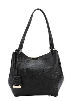 Burberry black check embossed calfskin tote bag
