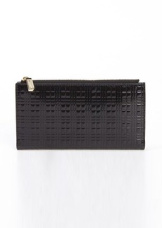Burberry black check embossed leather continental wallet