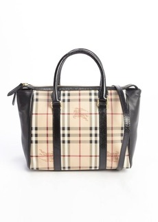 Burberry black coated canvas and leather 'Haymarket Medium Chatton' tote