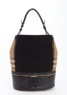 Burberry black leather and cotton medium 'Beckett' house check bucket bag