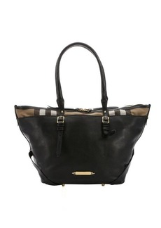 Burberry black leather and dark tan house check canvas 'Salisbury' small tote