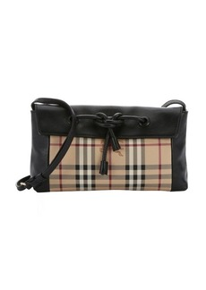 Burberry black leather and haymarket check coated canvas small 'Leah' shoulder bag