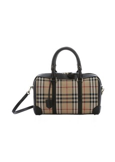 Burberry black leather and honey horseferry check medium 'Alchester' convertible bowling bag