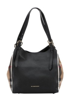 Burberry black leather and house check small 'Canterbury' tote bag