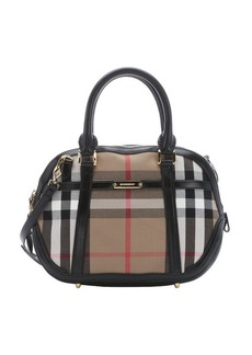 Burberry black leather and khaki house check canvas small 'Orchard' convertible satchel