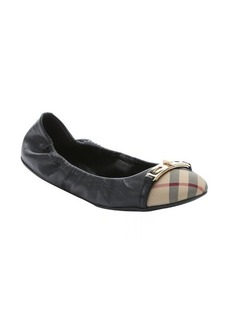 Burberry black leather and nova check fabric buckle detail ballet flats
