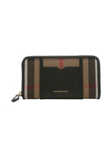 Burberry black leather and plaid canvas 'Ziggy' large continental wallet