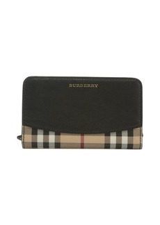 Burberry black leather and tartan coated canvas 'Cowley' wallet