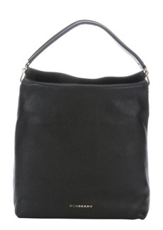 Burberry black leather large top handle bag