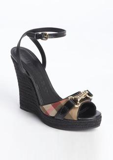 Burberry black leather nova check canvas buckle detail wedge sandals