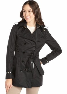 Burberry black leather-trimmed double-breasted trench coat