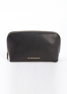 Burberry black leather zip top cosmetic case