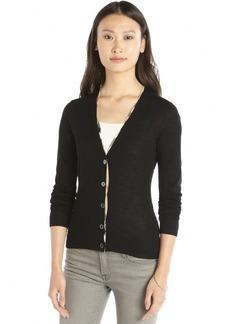 Burberry black merino wool nova check trim cardigan