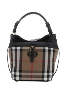 Burberry black nova check canvas medium 'Sycamore' hobo bag
