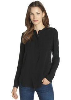 Burberry black partial zip front long sleeve blouse