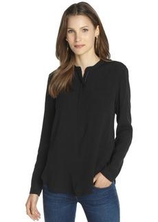 Burberry black partial zip front long sleeve blouse