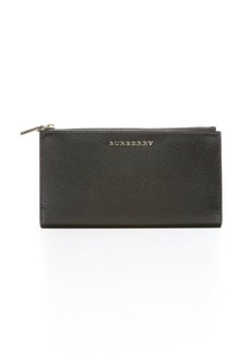 Burberry black patent leather 'Constantine' folding continental wallet