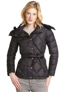 Burberry black quilted down filled belted coat
