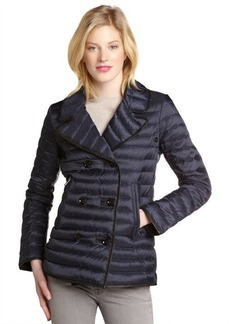 Burberry black quilted down filled notched lapel coat