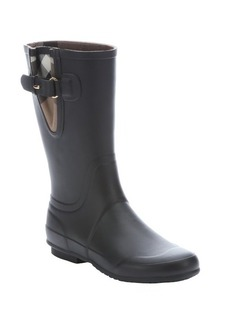 Burberry black rubber 'Chandler' buckle detail rainboots