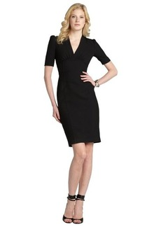 Burberry black seamed stretch cotton V-neck short sleeve dress