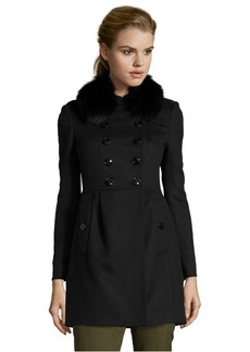 Burberry black wool and cashmere double breasted fur collar jacket