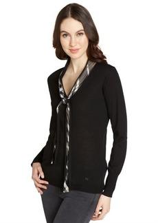 Burberry black wool nova check tie accent long sleeve sweater