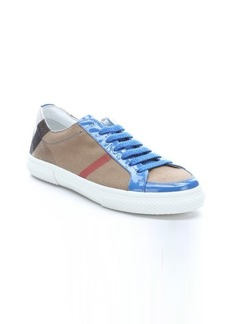 Burberry blue patent leather and nova check canvas 'Trevol' sneakers