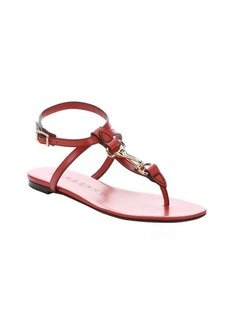 Burberry bright coral red leather 'Reason' t-strap sandals
