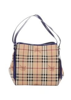 Burberry brilliant blue patent leather and nova check coated canvas 'Canterbury' small tote