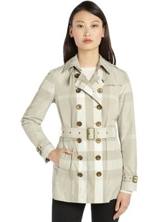 Burberry Brit beige and ivory nylon nova check belted long sleeve trench coat