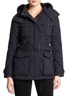 Burberry Brit Benley Fur-Trim Quilted Jacket