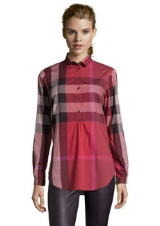 Burberry Brit berry red nova check print cotton partial button front tunic