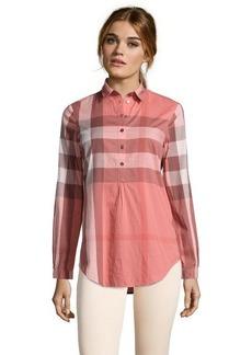 Burberry Brit coral pink cotton 'Mal' nova check print blouse