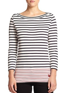 Burberry Brit Cotton Striped Boatneck Top