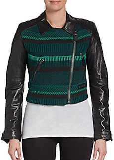 Burberry Brit Cropped Leather-Sleeve Jacket