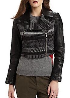 Burberry Brit Fair-Isle Leather Moto Jacket
