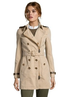 Burberry Brit honey cotton 'Anthornlt' double breasted belted trench