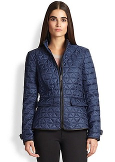Burberry Brit Laycroft Leather-Detail Quilted Jacket