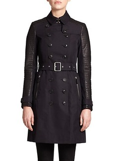 Burberry Brit Leather-Contrast Trenchcoat