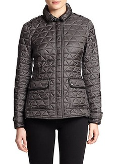 Burberry Brit Lunesbury Leather-Trim Quilted Jacket
