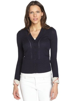 Burberry Brit navy cashmere-cotton cropped cardigan