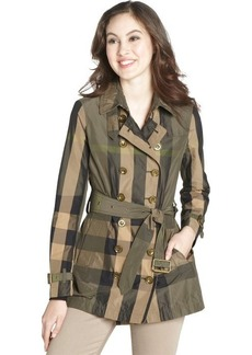 Burberry Brit olive and tan nova check cropped and belted trench