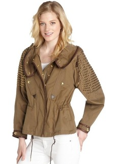 Burberry Brit olive green cotton studded hooded jacket