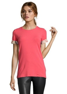 Burberry Brit pomegranate pink cotton blend jersey knit crew neck tee shirt