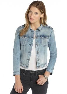 Burberry Brit vintage blue stretch denim patch pocket long sleeve jacket