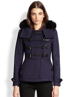 Burberry Brit Warwickstead Fur-Trim Toggle Coat