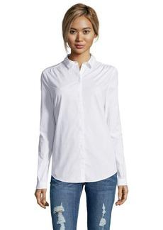 Burberry Brit white stretch cotton point collar button front shirt